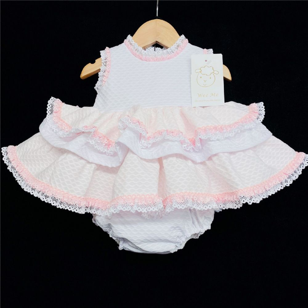 *Baby Girl Spanish White Pink Waffle Puff Ball Dress Pants Set